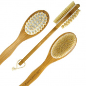 Simply Natural Brushes Premium Bamboo Bath Body Brush for Wet / Dry Brushing get your skin CLEAN, SMOOTH, SOFT & Reduce Cellulite! Long easy to grip handle. Get smooth soft skin or your money back!