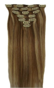 DuaFire 46cm Clip in Remy Human Hair Extensions 12/613# Light Brown with Bleach Blonde 7pcs 70g