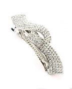 Women's Rhinestone Metal Hair Barrette Clip Hair Pin Antique Silver IMB2102