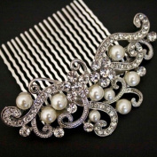 Bridal Wedding Jewellery Crystal Rhinestone Pearl Duo Design Hair Comb