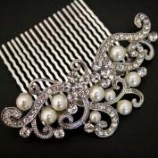 Bridal Wedding Jewellery Crystal Rhinestone Pearl Duo Design Hair Comb