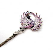 Antique style hair jewellery, peacock hamdmade diamond hairpin