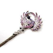 Antique style hair jewellery, peacock hamdmade diamond hairpin