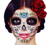 Glitter Floral Day of the Dead Sugar Skull Temporary Face Tattoo Kit - Pack of 2 Kits