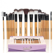 Ivation Cosmetics Natural Facial Makeup Brush Set with Leather Pouch