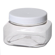 Bargz Plastic Jars - 240ml70mm Clear Shape - White Lined Ribbed - Pack of 12