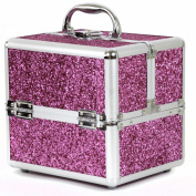 Bucasi CB15324 Girls Teenagers Pink Sparkle Aluminium Makeup Train Case Organise Makeup Jewellery Nail Polish