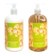 Juicy Peach Shea Butter Hand & Body Lotion and Juicy Peach Shea Butter Hand Soap Duo Set 470ml each by Greenwich Bay Trading Co.