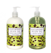 Cucumber and Olive Oil Hand & Body Lotion and Cucumber and Olive Oil Hand Soap Duo Set 470ml each by Greenwich Bay Trading Co.