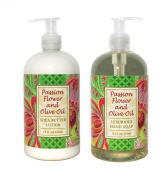 Passion Flower and Olive Oil Shea Butter Hand & Body Lotion and Passion Flower and Olive Oil Shea Butter Hand Soap Duo Set 470ml each by Greenwich Bay Trading Co.