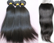 7A Grade 100 % Raw Unprocessed Brazilian Virgin Hair Straight 3 Pcs Hair Bundles With 1Pc Lace Closure Natural Colour 100 Human Hair Weaves Extensions With Top Closure - 14 16 18+25cm