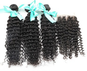 Brazilian Curly Virgin Hair With Closure,Brazilian Deep Wave Curly 3 Bundles With Three Part Lace Closure,Curly Weave Human Hair Bundles With 4*4 Closure - 14 16 18+10