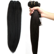 36cm - 60cm Unprocessed Brazilian Virgin Human Hair Extensions Natural Black Colour #1B 100g Straight Weft Grade 7A Quality