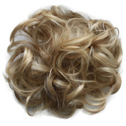 Toptheway Messy Platinum Blonde Hair Bun Updo Hair Ribbon Ponytail Extensions Synthetic Hair Piece
