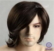 Men's Fashion Medium Style Wave Wig Dark Brown Colour Wig