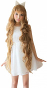 Women Long Wavy Spiral Curl blonge Wig with neat bang