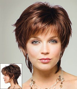 HI GIRL Trendy Copper Chestnut Brown Short Straight Women's Hair Wigs