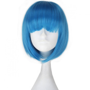 Miss U Hair Girl's Short Straight Synthetic Blue Colour Anime Cosplay Full Wig BOB Hair
