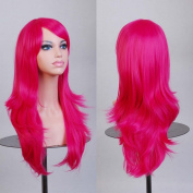 Ellena®Womens/Ladies 70cm Rose Colour Long CURLY Cosplay/Costume/Anime/Party/Bangs Full Sexy Wig