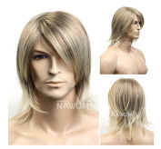 Men's Fashion Handsome Medium Style Straight Wig,golden Blonde Colour Wig