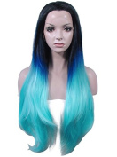 Imstyle® Brand Dark Roots Blue Colour Wigs Extra Long Straight Synthetic Lace Wig
