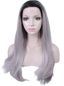 Imstyle® Lady Gaga Style Long Straight Ombre Black Mix Grey Cosplay Lace Front Wig