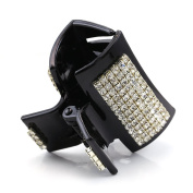 Pretty Black Hair Claw Jaw Pin Butterfly Clip Clear Pave Rhinestones Hair Styling Accessories for Women Teens