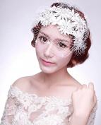 White Handmade Flowers Gauze Veil Face Concealed Banquet Headdress Hair Ornaments Bride Bridal Wedding Accessory Hair Head Wear Hat