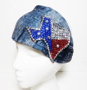 Bling State of Texas Denim Look Cotton Wide Headwrap Headband Western