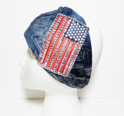 Bling USA American Flag Denim Look Cotton Wide Headwrap Headband Patriotic