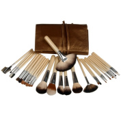 Fashion Zone 28 Golden Brown Deluxe Makeup Mineral Brush Set