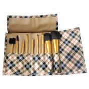 Fashion Zone 9Pc Fashion Makeup Cosmetic Brush Set Gold