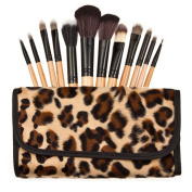 ZWZCYZ New 12pcs Professional Makeup Kits Brushes Cosmetic Sets Tools Yellow Leopard Bag Makeover