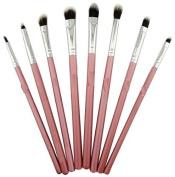Kolight® 8pcs DIY Eye Brushes Set Eyeliner Eyeshadow Blending Pencil Brush Foundation Cosmetic Makeup-Pink+Silver