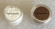 Lot of 2 Cosmetic Mineral 3g Jars Lightening Darkening Powder Lightener White Pigment 3 Gramme Bown Colour Correcting for Foundation That Is Too Dark or Too Light