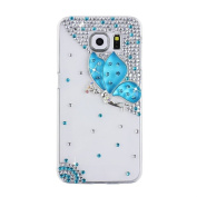EVTECH(TM) Blue Diamante Butterfly Blue Fairy Diamond Rhinestone Crystal Bling Bling Glitter Fashion Style Transparency Back Cover Cell Phone Case for Samsung Galaxy S6 Edge Plus Samsung Galaxy S6 Edge +