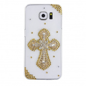 EVTECH(TM) Golden Cross Diamante Bead Diamond Rhinestone Crystal Bling Bling Glitter Fashion Style Transparency Back Cover Cell Phone Case for Samsung Galaxy S6 Edge Plus Samsung Galaxy S6 Edge +