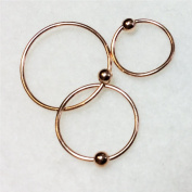 Nose Rings,Set of Three,ROSE gold over SILVER, 8mm,10mm,12mm,captive bead, for lip,eyebrow, cartilage,ears,nose body piercing
