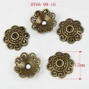 HYBEADS 50Pcs Antique Bronze Tibetan Flower Beads Caps Beading Supplies