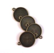 20 Deannassupplyshop Circle Connector Pendant Trays - Brass Colour - 2.5cm - Pendant Blanks Cameo Bezel Settings Photo Jewellery - Custom Jewellery Making