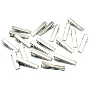 Beautiful Bead 20pcs Iron Copper Alloy Alligator Hair Clips Hair Accessories For DIY Hair Style 3.5*0.8cm Silver