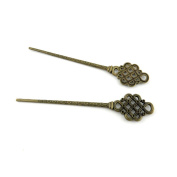 Price per 5 Pieces Antique Bronze Jewellery Making Charms Findings Supplies W1WI8 Knot Hairpin Head Pins Craft Ancient Repair Lots DIY Pendant Vintage