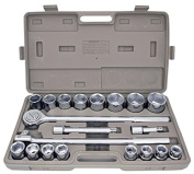 21pc SAE 1.9cm Drive Socket Set w Storage Case Jumbo Ratchet Wrench Extension NEW