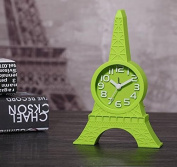Hxytech Paris Eiffel Tower Shape 3d Paris Design Quartz Alarm mini Clocks for Home Decoration-Green