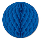 Club Pack of 12 Blue Honeycomb Hanging Tissue Ball Party Decorations 30cm