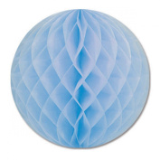 Club Pack of 12 Light Blue Honeycomb Hanging Tissue Ball Party Decorations 30cm