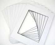 Mat Board Centre, Pack of 25 11x14 White Picture Mats with Black Core Bevel Cut for 8x10 Photos