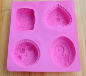 4-assorted Flower Cake Mould Soap Mould Silicone Mould for Cookie Fimo Resin Craft