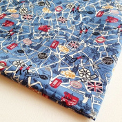 UK Fabric England Attraction Oxford Britain Fabric United Kingdom Union Jack Big Ben London on Blue 90cm by 90cm Wide (1 Yard)