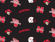 NCAA University of Nebraska Huskers Team Licenced All Over Cotton Fabric